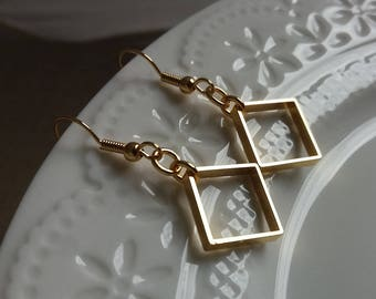 Gold Square Earrings. Minimalist Earrings. Geometric Earrings. Geo Jewellery
