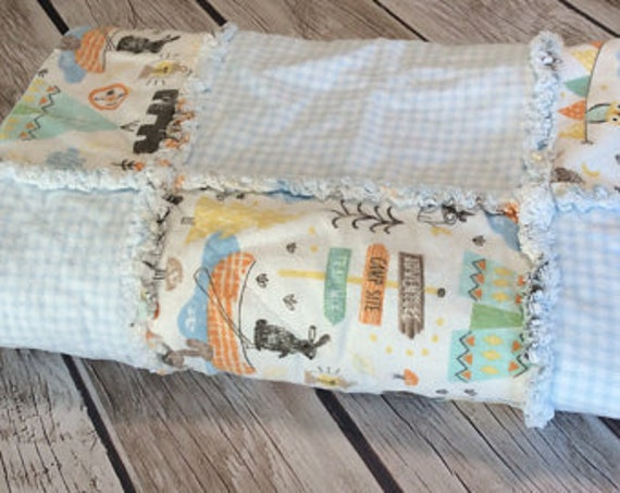 Baby Rag Quilt Camping Baby Quilt Bear Rag Quilt Gender Etsy