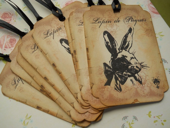 Incroyable Lapin De Pâques, Easter Tags, Vintage Bunny Tags, Bunny Tags, Easter Table  Decoration, Easter Vintage Tags, Easter Cards