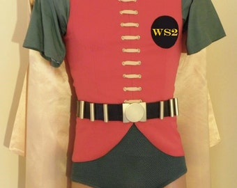 Red Retro Superhero Wonder Boy Unisex Costume Cosplay laced Vest with insignia