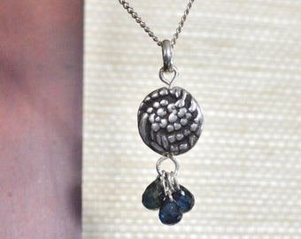 Double Sided Floral Handmade PMC Fine Silver Pendant with 3 Genuine Sapphire Briolettes