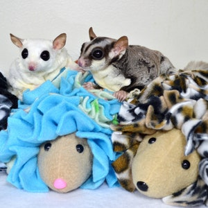 Stuffed Bonding Therapy Toy Green and Black Flower Print  Fleece Snuggle Buddy Hedgehog for Sugar Gliders Small Pets