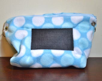 Fleece Bonding Pouch Purse with Screen for Hedgehog, Rat, Sugar Gliders or Small Pet, Polka Dot Blues Print