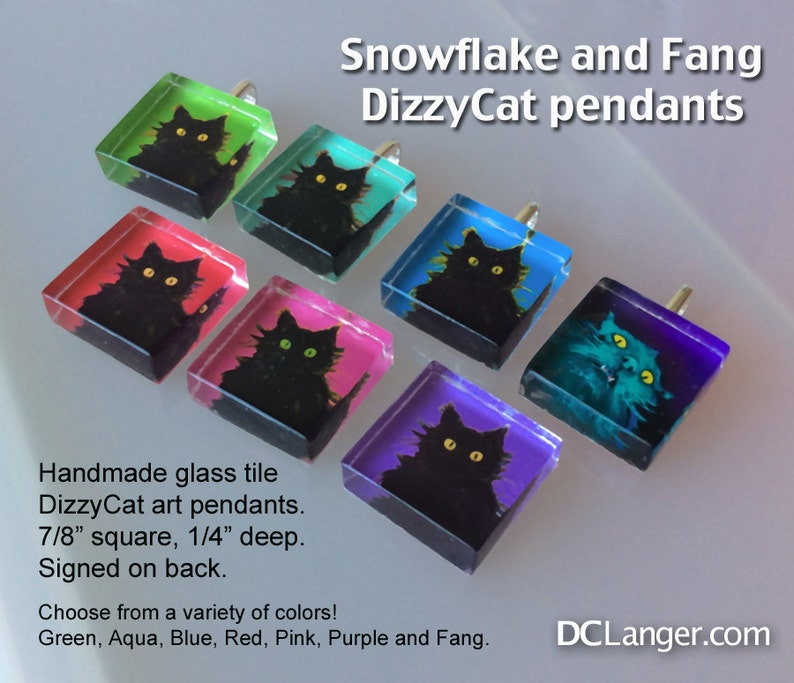 DizzyCat Glass Tile Pendants. Select your favorite or collect image 0
