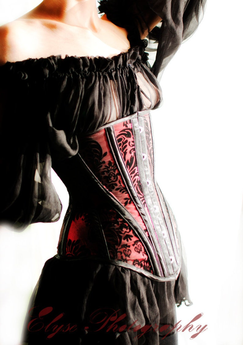 9ff26d73b0 Goth under-bust corset red and black flocked taffeta.