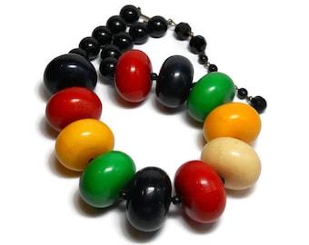 Vintage Rondelle Wooden Bead Necklace