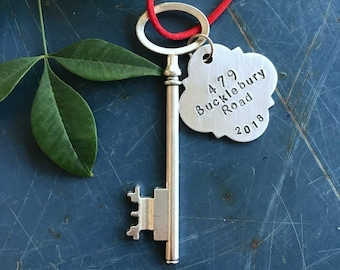 Housewarming gift, hostess gift, realtor,  Home Ornament, New House, Address Key, personalized, First Christmas, Home Sweet Home
