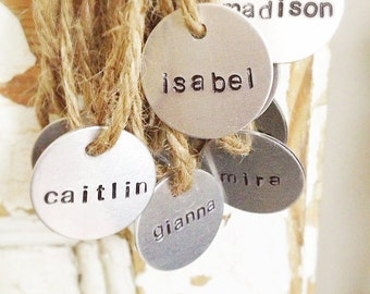 Stamped metal charms, tags, labels, hand stamped party favors, gift tags