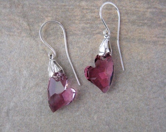 Pink Crystal and Sterling Silver Earrings. On Sale
