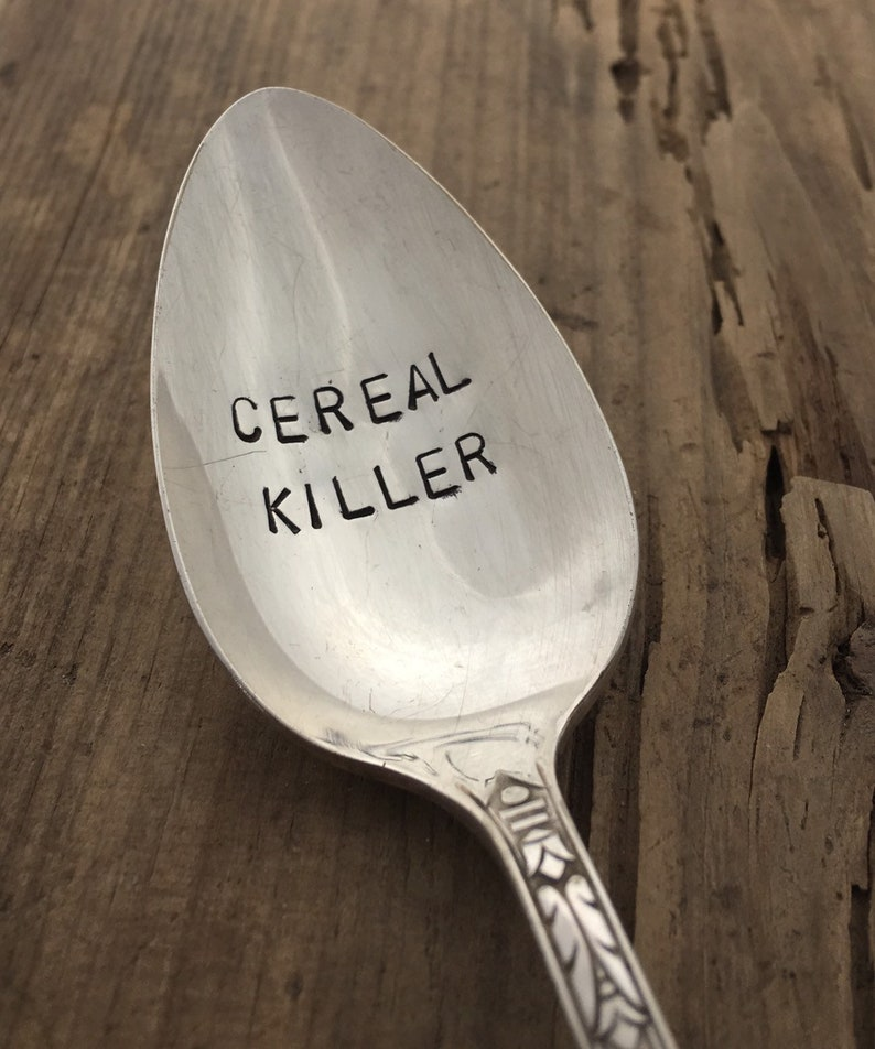Cereal Killer Spoon Hand Stamped Spoon image 0