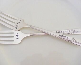 Wedding Forks I do Me too Wedding cake Forks With Names
