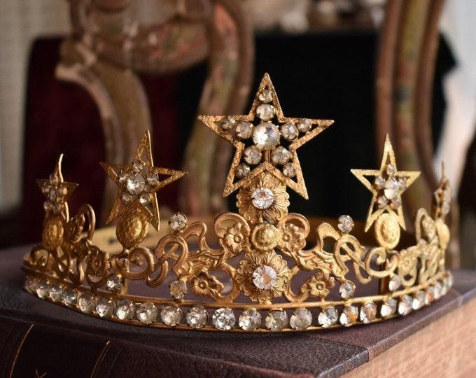 Stunning 19th century French Santos crown, tiara, Catholic crown, life sized, adjustable