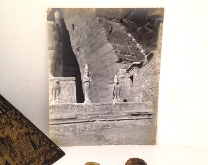 Original 1911 photograph of the Temple of Hathor, archeology, egyptian, antique photo snapshot, love goddess