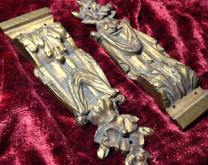 Furniture decor elements brass Acanthus, Festoon & Flower - aprox   late 1800's - early 1900s, for restoration, assemblage or repurposing