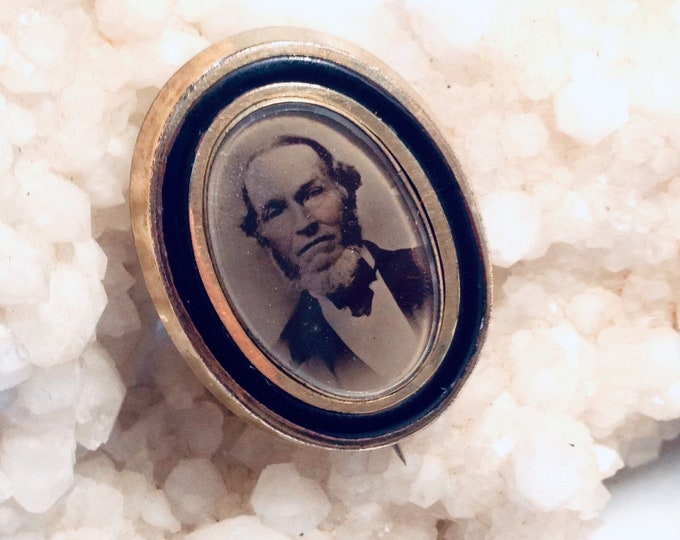 Victorian mourning brooch with tintype portrait of man with neck beard, black enamel, oddities, funeral, memorial