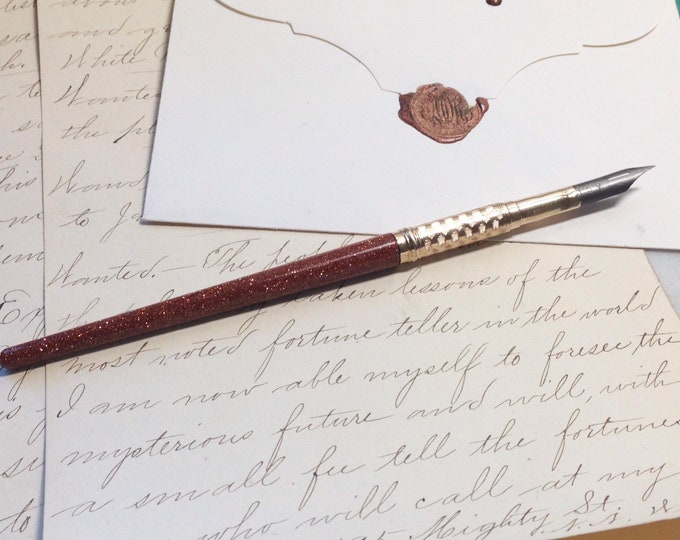 Goldstone Pen - Edwardian Dip Pen made of semiprecious stone - gift - calligraphy - pen, hand lettering, letter writing, pen pal - writer