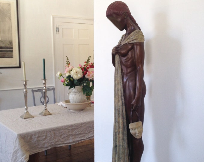 "Nude Female Bronze Sculpture - ""Truth"" by artist Jack Hill - artist's proof 1 of 2 - large surreal vintage cast bronze art"