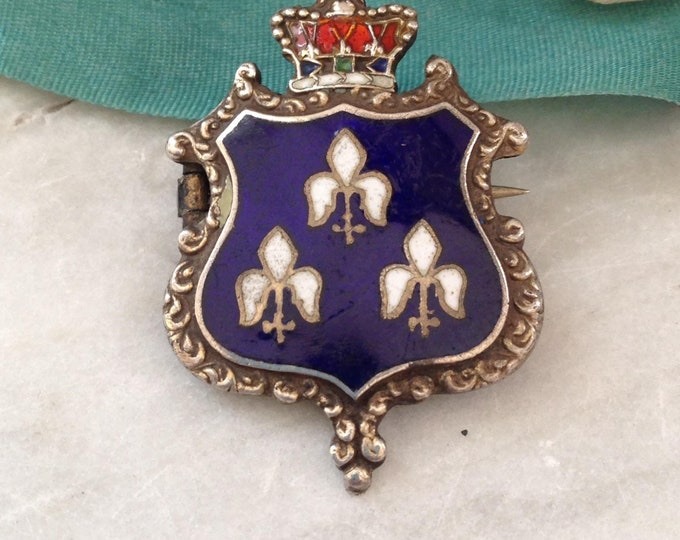 Beautiful French Coat of arms Victorian Brooch, enameled Sterling Silver