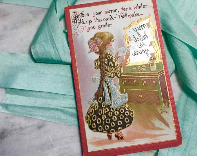 Magic Mirror message postcard from 1915 by Dwig, love, flirting, friendship