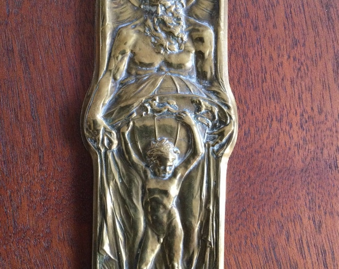 Chronos, Young Atlas and the zodiac, Walter Gilbert, British arts and crafts movement, neoclassical bronze plaque, mythological