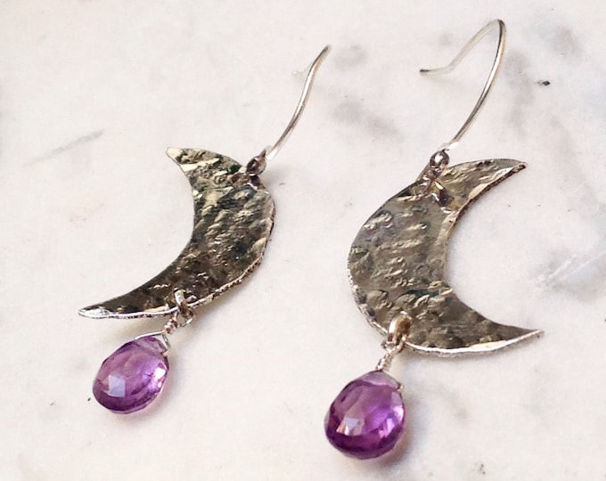 Sterling Silver & Amethyst Crescent Moons - moon phase earrings with amethyst briolettes - lunar magic