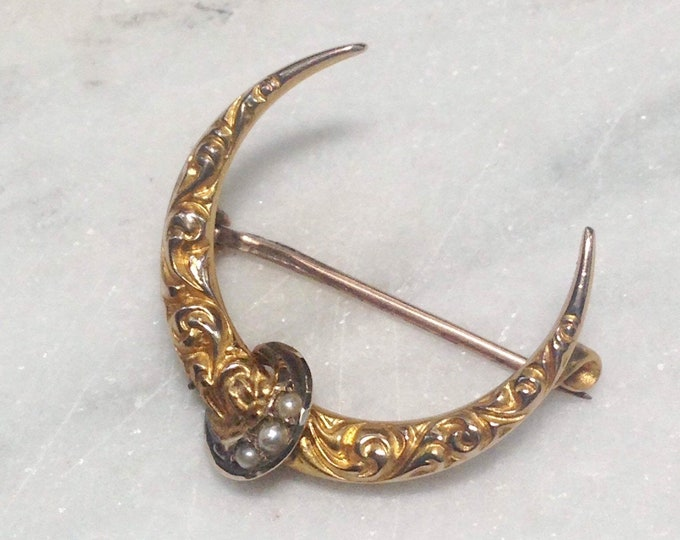 Antique Crescent Moon Brooch Victorian 10K Yellow Gold Cultured Seed Pearl Repoussé Moon Phase Pin
