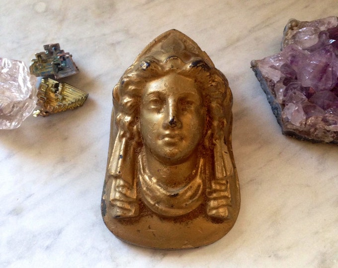 Antique Neoclassical Athena paperweight, gilded cast iron, late 1800's beautiful form, goddess