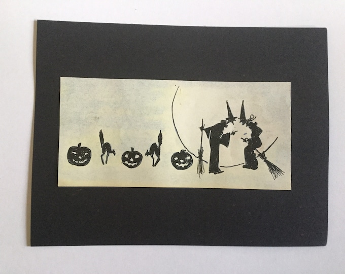 Vintage Halloween Silhouette ink drawing, 1930's, witches black cats, jack-o-lanterns, small work.