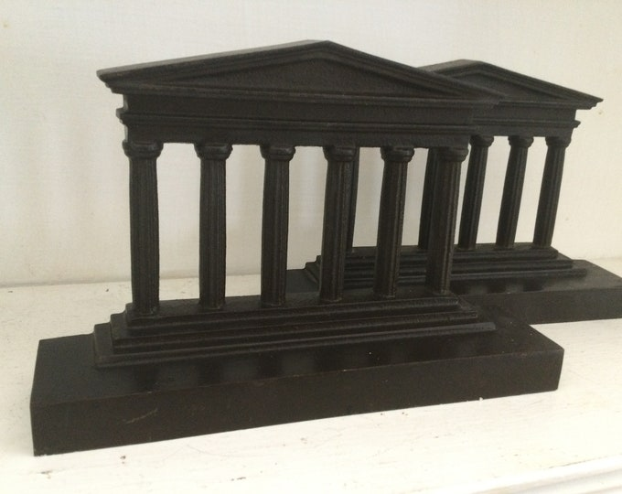 Antique Neoclassical bookends, Parthenon, temple of Athena, cast bronze, grand tour