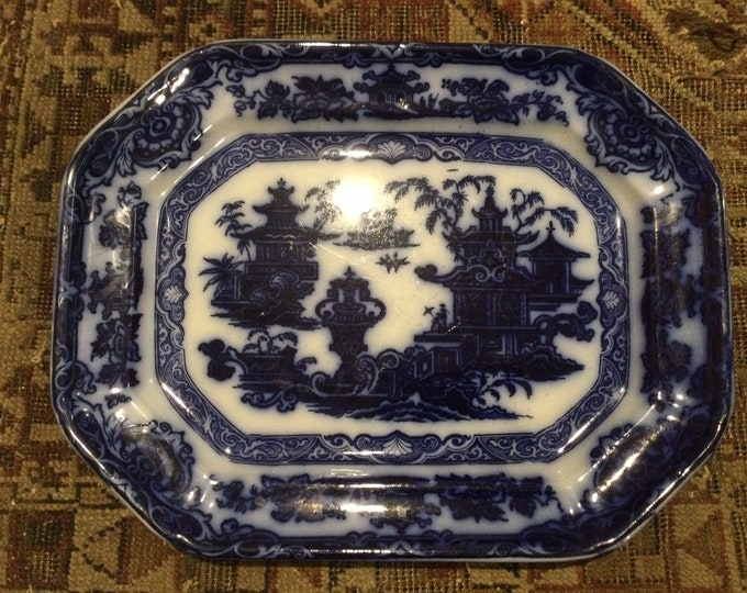 Antique Flow Blue Temple Pattern Platter by PODMORE WALKER. C. 1834-1856, maximalist, chinoiserie, 19th century