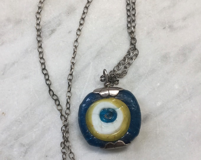 Vintage Turkish glass Evil Eye Warding pendant, on 18 inch sterling silver chain. Spell, esoteric, protection, magic, oddities