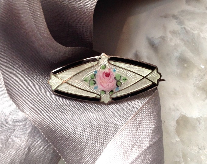 Antique Sterling Silver Guilloche Ename Brooch - black and white art deco motif with a pink rose and tiny blue forget me nots