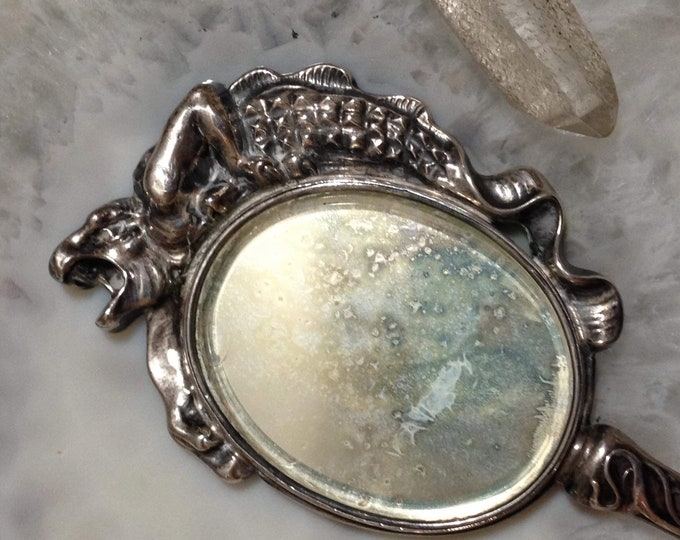 1905 art nouveau Sterling Silver purse, hand mirror, by William Kerr, with grotesque, gargoyle, dragon, sea monster