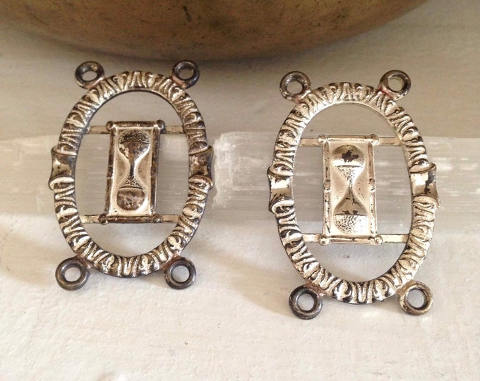 Pair of antique oddfellows hourglass sash badges c. 1890-1920,fraternal, secret society