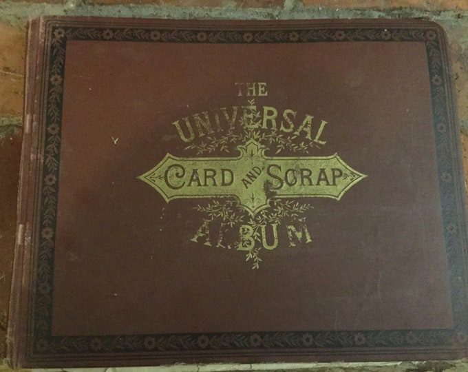 1885 Victorian Scrapbook album, full of 150 pieces of victorian graphic paper, trade cards, calling cards, photograph, diecuts and more