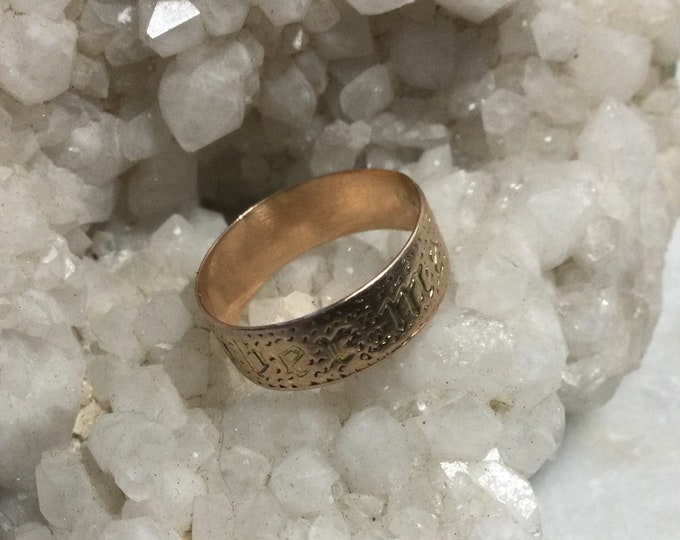 "Early 19th century Georgian gold Remembrance ring, 14k gold, mourning, sweetheart, inscribed ""Remember Me"""