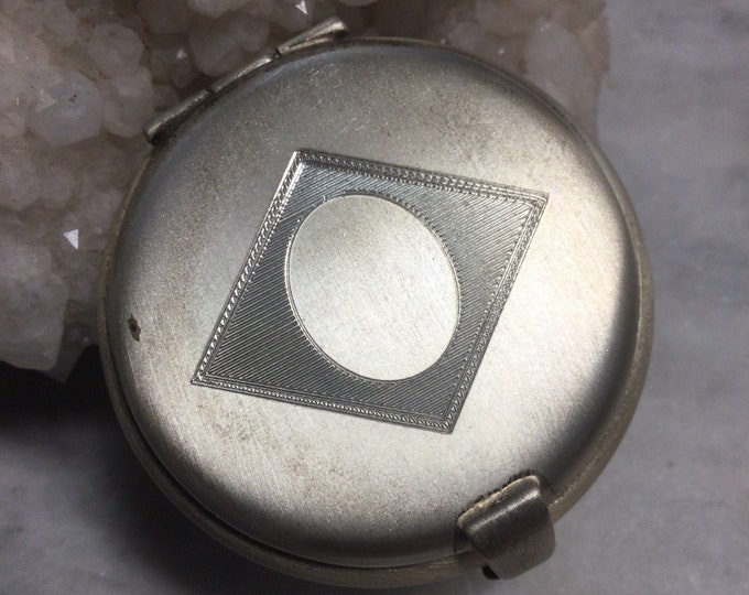 Fabulous sterling silver Charles Thomae travel pill box, trinket box, diamond motif, gift for him #2