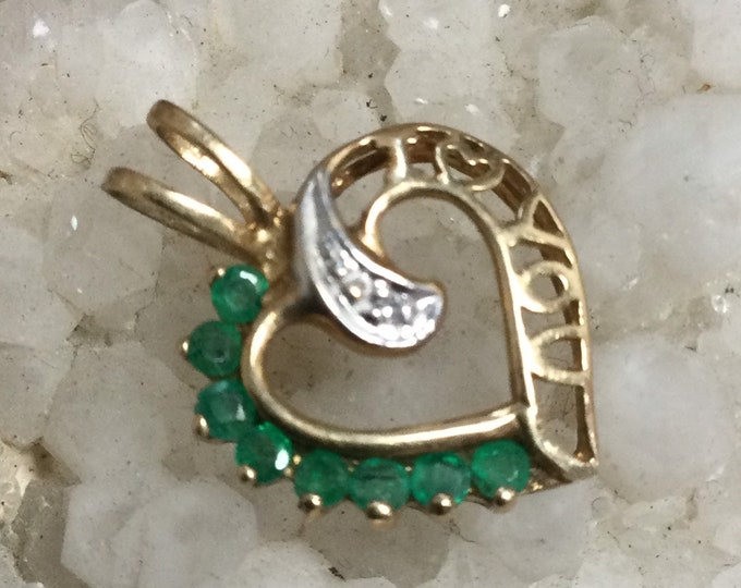 "1980s vintage May birthstone heart pendant 10k gold, diamond and emerald, ""I love you"""