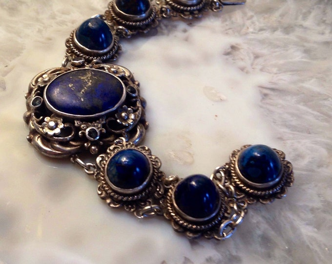 Stunning Victorian Lapis and Sterling silver bracelet with sapphires and floral designs