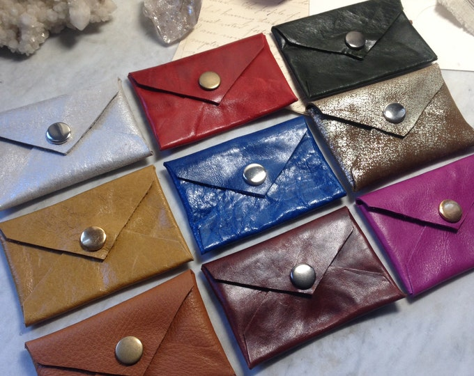 Itallian Leather Business Card Wallets - recycled buttery leather in a perfect size for cards and cash