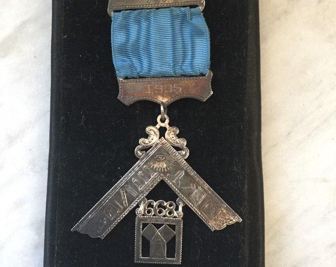 1935 Masonic Roanoke lodge Texas Sterling silver medal, badge, pin, fraternal, secret society, Freemason