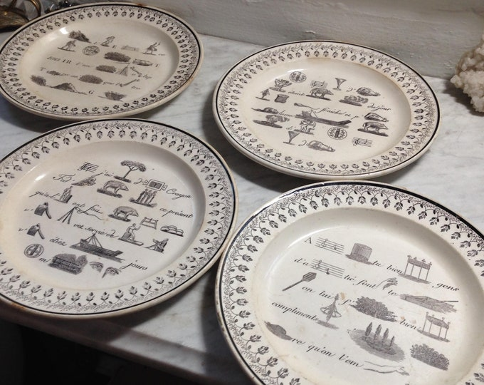 Set of 4 French Rebus puzzle dessert Plates c.1820-1830, beautiful interior decorating element
