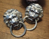 Designer Mimi di Niscemi Lion Door Knocker 1970 s clip Earrings in Silver Tone
