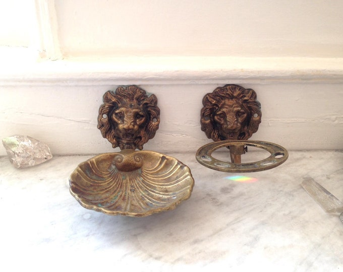 1920s Cast Brass Lions head soap and toothbrush holder, Hollywood Regency
