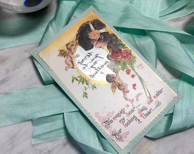 Magic Mirror message postcard from 1910 by Dwig, love, flirting, friendship