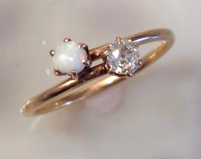 Victorian Diamond & Opal Engagement or Right Hand Ring 14k Gold