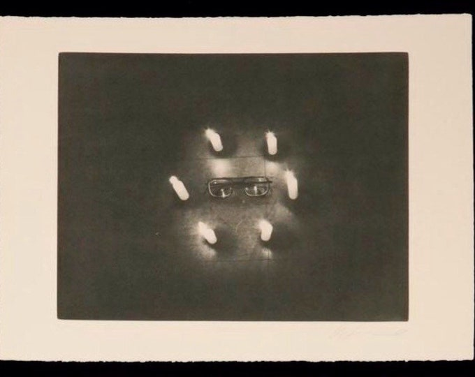 Glasses, from the Candlelit Series by Les Levine, 1970's photo etching, surreal, seance candlelight, spiritual, minimalist