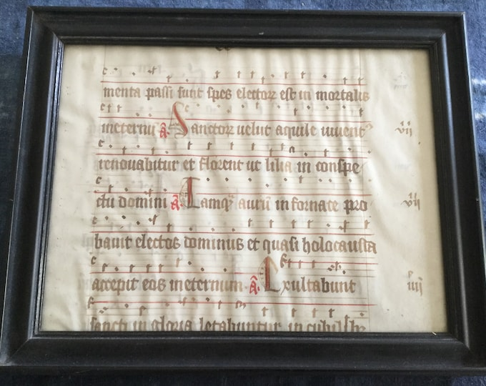 Authentic 15th Century handwritten Religious Music sheet, with Grotesque face Gothic script