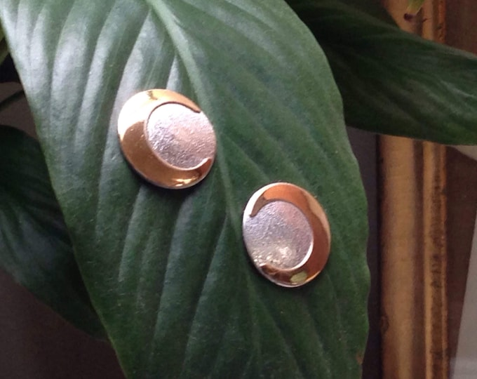 Vintage Crescent Moon Sterling two tone button earrings