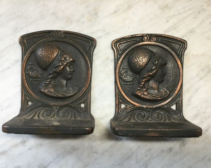 Antique Neoclassical, Art Nouveau bookends, depicting Minerva, Goddess of the arts